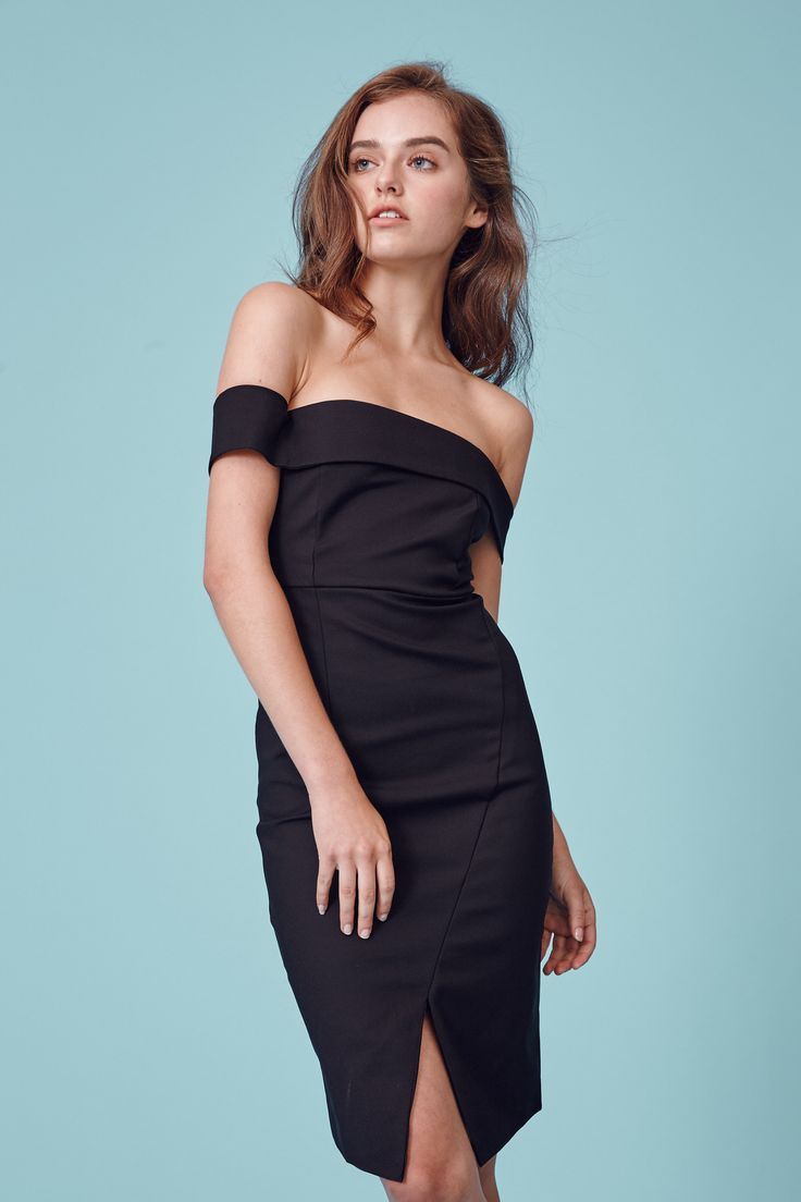 Inspired by the romance of Spring  JULIETTE is an off the shoulder dress with a high cut hem detailing in a form fitting silhouette.