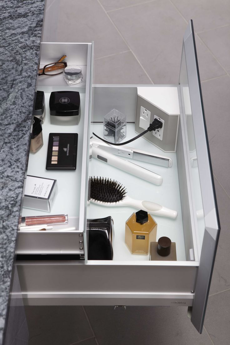 In-the-drawer electrical outlets for bathroom drawers & vanities help keep your space neat, organized, and useful from #Robern