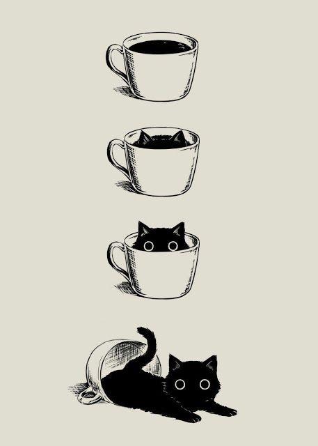 Ich liebe Katzen und Kaffee 🧡 #cat #coffee #katzeimkaffee   – Katzen – Stubentiger – Kunst