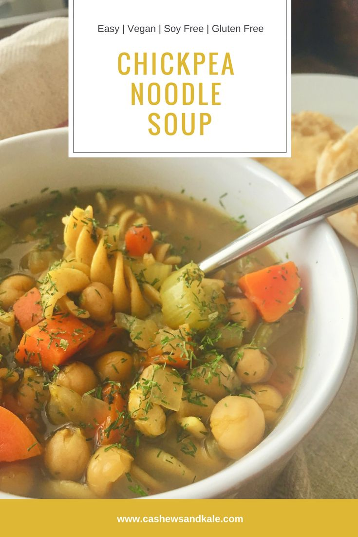 Chickpea Noodle Soup Give this comforting vegan rendition of chicken noodle soup a try the next time you need something nostalgic to warm you up!