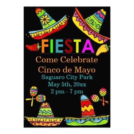 Mexican Fiesta Cinco de Mayo Invitations Black | Zazzle ...
