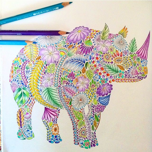 Adult Coloring Colouring Books Rhinos Animal Kingdom Clever
