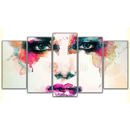 Obraz na płótnie pięcioczęściowy - Abstrakcyjna twarz kobiety #fedkolor #obraz #obraznapłótnie #obrazw5częściach #poliptyk #abstrakcja #twarz #kobieta #sztuka #art #malowidło #malowanie #wydruk #wydruknapłótnie #ozdoba #dekoracja #wnętrza #interiors