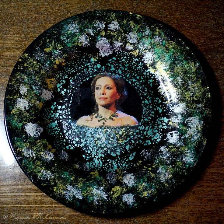"""Series of decoupaged plates """"Jekyll and Hyde"""": Emma. Elena Gazaeva as Emma Carew."""
