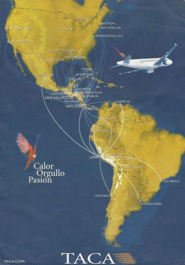 Mapa rutas grupo TACA