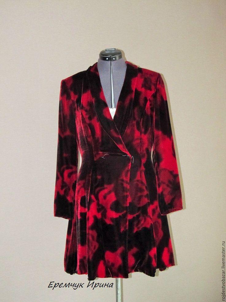 Купить Блейзер из бархата - ярко-красный, красно-черный, абстрактный, блейзер, жакет, блузон
