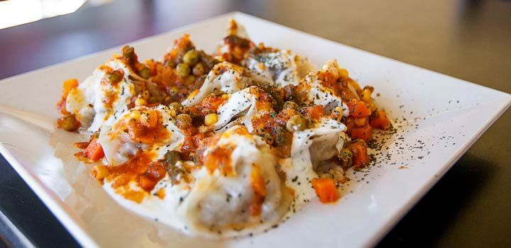 Manti at Q's Halal in Alameda and the month-old Q's Falafel House in Oakland.