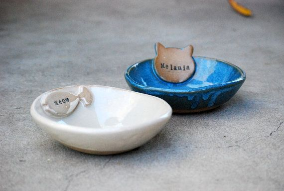Personalized Cat Bowl, Named Pet Bowl, ceramic Pet Dish, Personalized, Bowl With Name, Handmade Pet Bowl, Ceramic Pottery