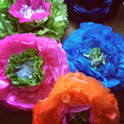 Handmade Giant Double Paper Flowers by Pearl and Earl www.pearlandearl.com