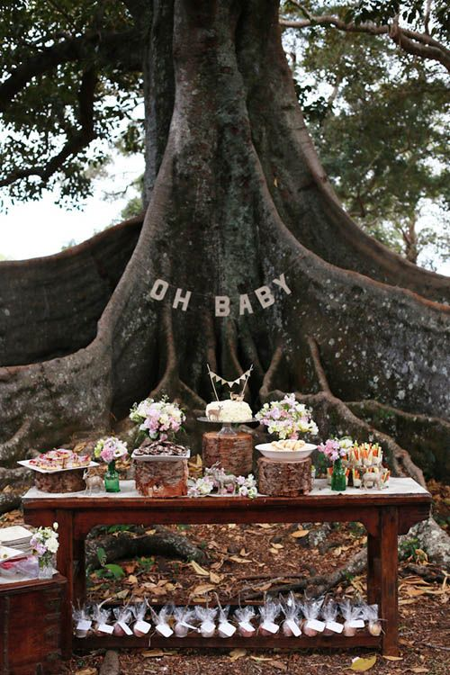 """Amongst the Trees Nature Inspired Woodland Baby Shower. 8"""" Birch Tree Wood Slab Centerpiece Create a naturally chic centerpiece by arranging mason jars, candles, spanish moss, or seasonal florals over our birch wood slab decor. #timelesstreasure"""