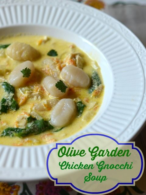 Olive Garden Chicken and Gnocchi Soup from CopyKat.com, this a simple soup you can make from scratch.   #copycat #soup
