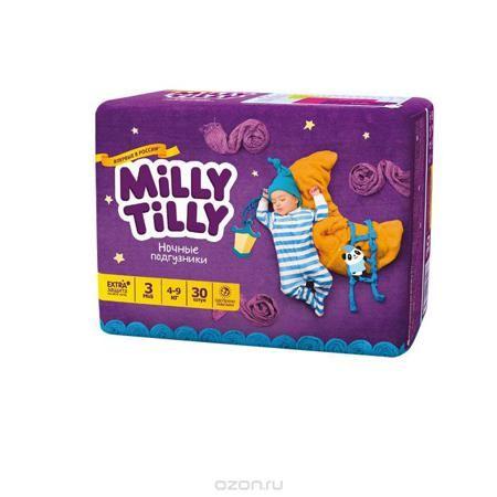 """Milly Tilly Подгузники ночные """"Midi"""", 4-9 кг, 30 шт  — 693р. --- Ночные подгузники """"Milly Tilly"""" разработаны специально для комфорта и крепкого сна малыша. Отличаются усиленной впитываемостью и повышенной защитой + 7 степеней комфорта. Нежный материал ночного подгузника в виде сот прилегает к коже и дарит малышу невероятный комфорт. Данная структура верхнего слоя в виде сот позволяет свободно циркулировать воздуху внутри подгузника. Эластичные поясочки надежно фиксируют его, при этом не…"""