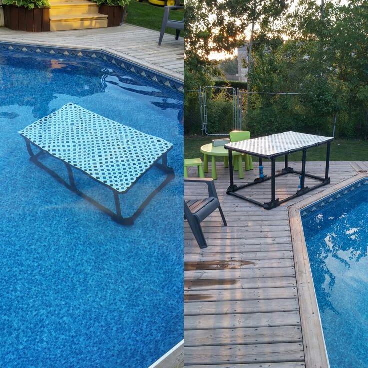 Our diy water platform learn to swim pool pvc - Above ground pool platform ...