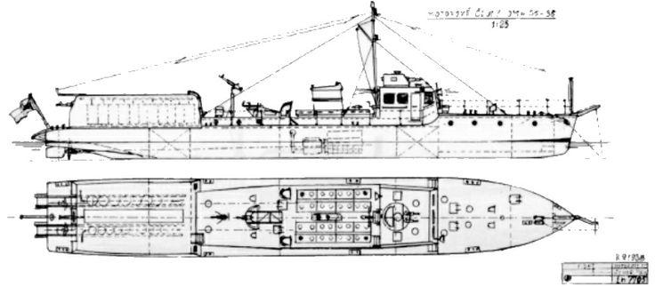 Škoda, Pancéřová minonoska OMm 35. Plán byl nakreslen podle dochovaných výkresu Škodových závodů číslo Ln. 7705 ze září 1938. Zachoval se i výkres žebrorysek a výkresy řezů lodním tělesem.