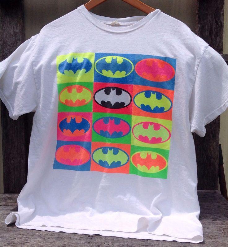 Vintage 90s BATMAN Neon Retro Pop Art DC Logo Comics Graphic T Shirt *RARE* | eBay