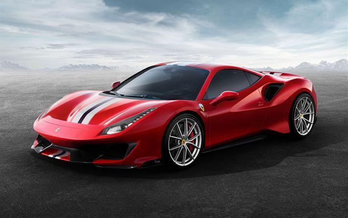 Download wallpapers Ferrari 488 Pista, 2019, 711 horsepower, supercar, Italian sports cars, Ferrari