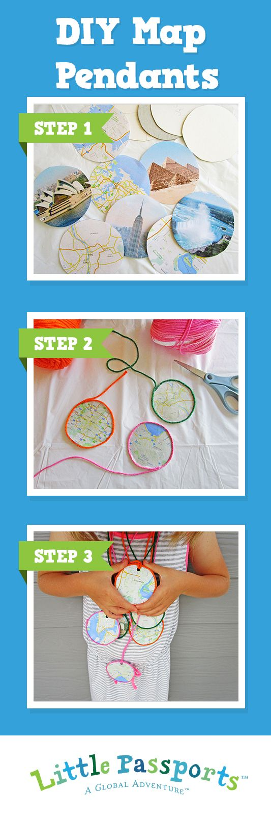 Try this fun map craft with the kids to create a lasting memory of your family's travels. Your little one can either wear the pendants or give them out as gifts!