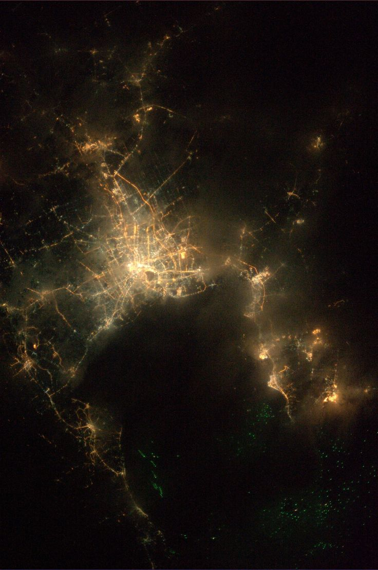 Bangkok, under light cloud cover.  Taken August 15, 2013.  KN from space.
