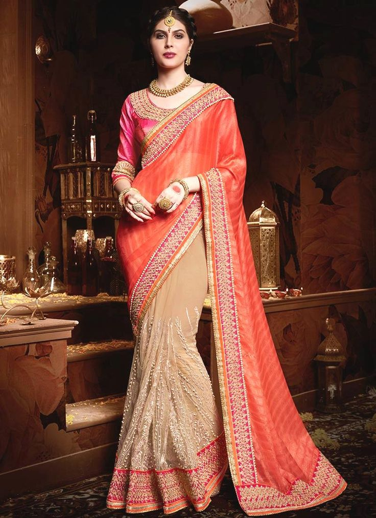 Buy online latest designer party wear sarees collection. Grab this georgette and net embroidered and patch border work designer half n half saree.