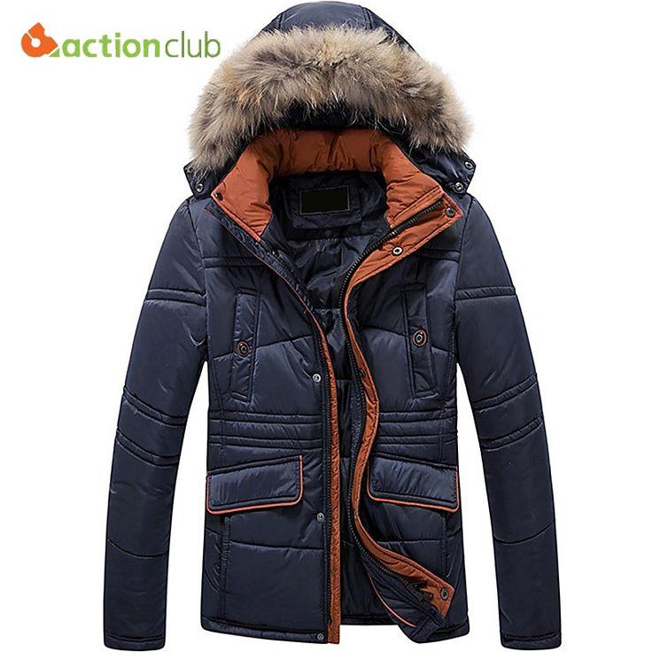 62.99$  Buy now - http://alijgq.shopchina.info/go.php?t=32779860540 - ACTIONCLUB Winter Parka cotton men Jacket Fur Hood Plus Size XXXXL 4XL Winter Jacket Fashion Men's Coat free shipping 62.99$ #shopstyle