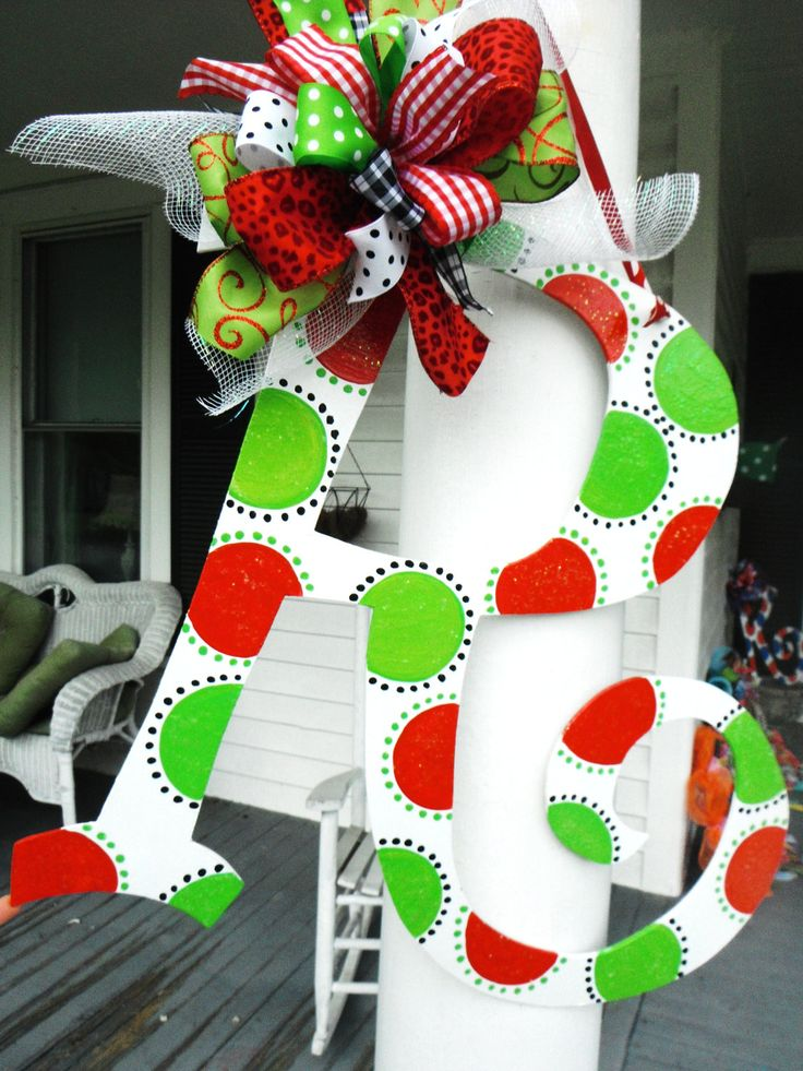 69 best images about letters for w wall on pinterest for Alphabet christmas wreath