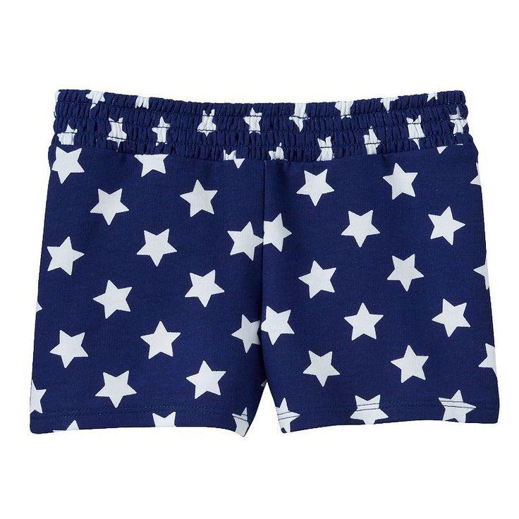 Girls Jumping Beans Patriotic Smocked Shorts, Blue/White Stars, 4 #JumpingBeans