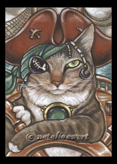 Pirate Cat 5 Signed Art Print You Choose  2.5x3.5 5x7 by natamon