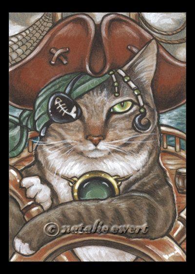 Chat pirate 8 signé Art Print-vous choisissez-2.5x3.5, 5 x 7 ou 8 x 10 po, race pailletée rayée capitaine navire Hat Eye Patch Natalie Ewert
