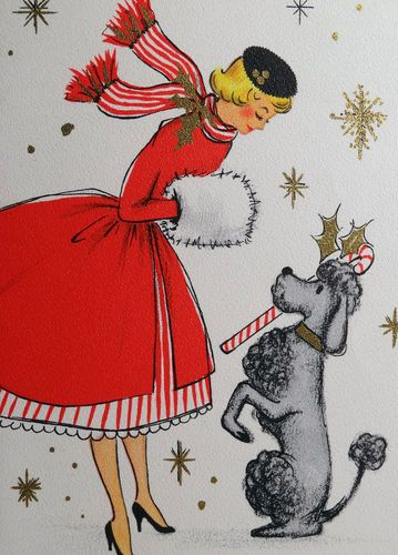 #1950s Hallmark Vintage Christmas Card  women fashion. Posted by Redlandspoodles.com