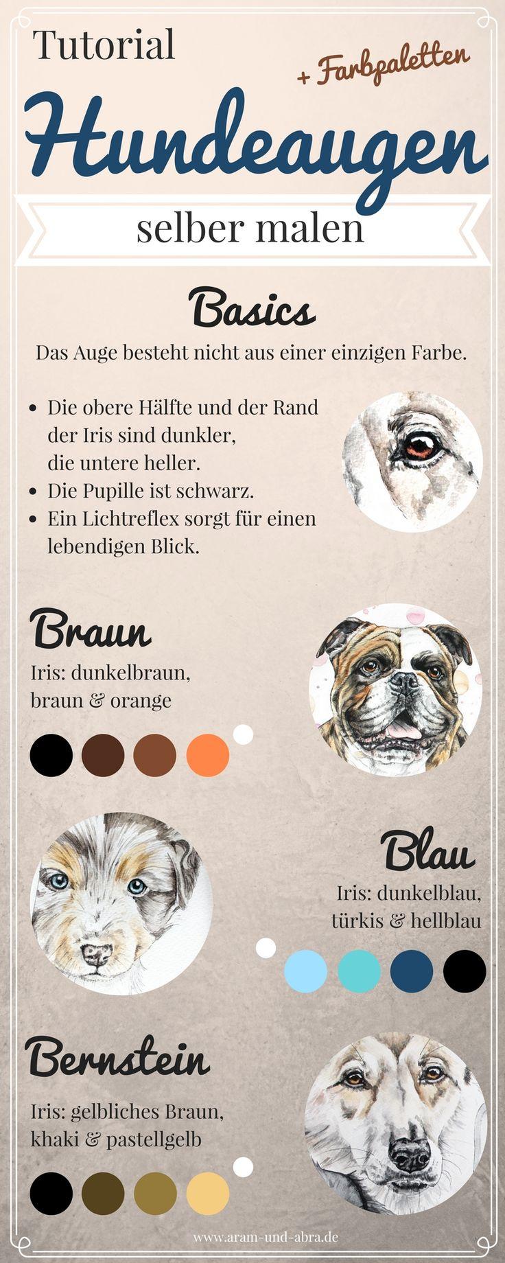 Tutorial: Hundeaugen malen, mit Farbpaletten dür die verschiedenen Augenfarben. Mehr dazu auf dem Blog: http://www.aram-und-abra.de/2017/01/wie-kommt-die-seele-ins-bild.html