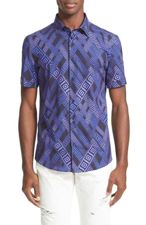 Versace Collection Trim Fit Allover Greek Key Print Shirt