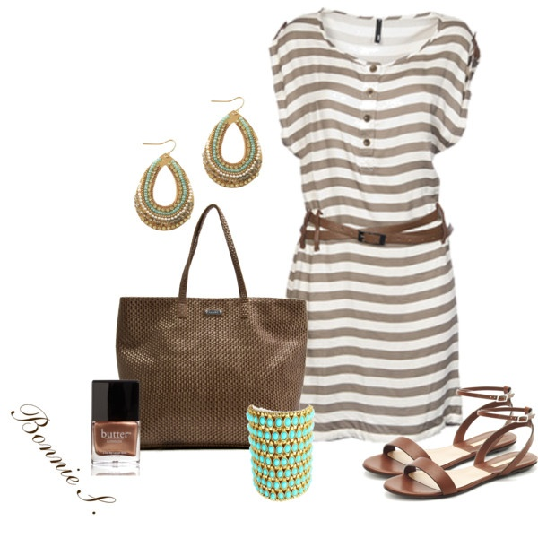 Cute summertime outfit!  brown & turquoise, created by bonnaroosky on Polyvore