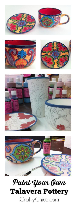 DIY Talavera-inspired Ceramic Mug and Saucer by CraftyChica.com.
