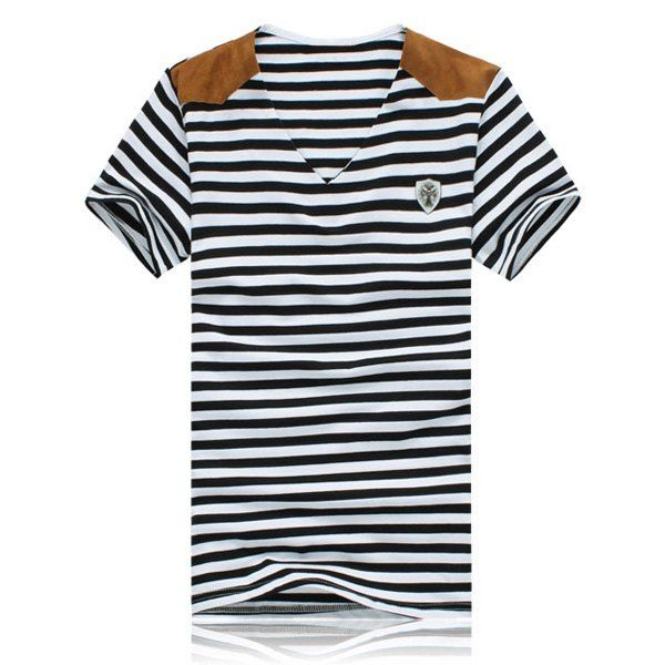 Fashion Stripe Design Suede Splicing V-Neck Short Sleeve Slimming Polyester T-shirt For Men