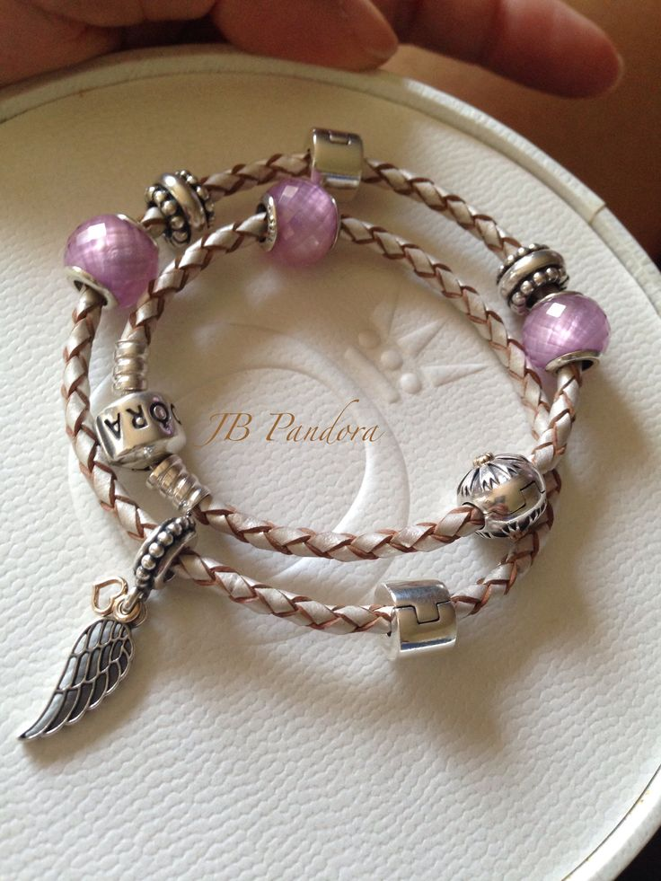 Champagne Pandora leather bracelet with pink petit facets. 791499 PCZ