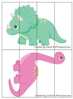 Puzles para los niños pequeños, se repasa el tema de los dinosaurios y la motrocidad