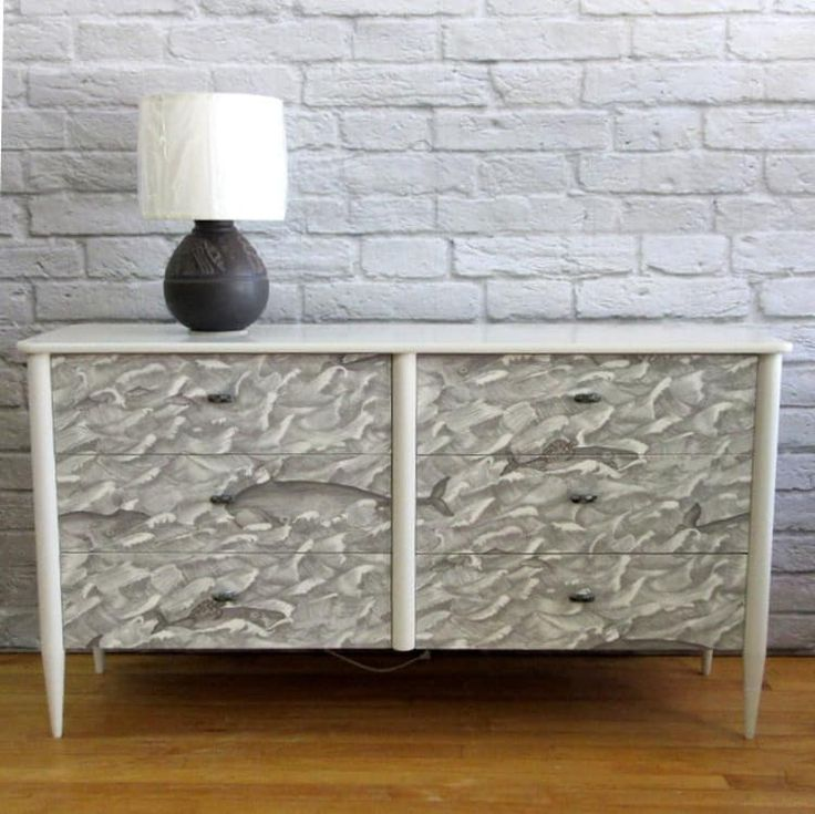 Tired of Big Box store furniture. One of a Kind Chest of Drawers Melville meticulously finished in Cole and Son Wallpaper