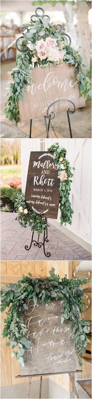 Greenery eucalyptus rustic wedding signs #green #wedding #weddingideas #dpf #deerpearlflowers / see more ❤️ http://www.deerpearlflowers.com/eucalyptus-wedding-decor-ideas/