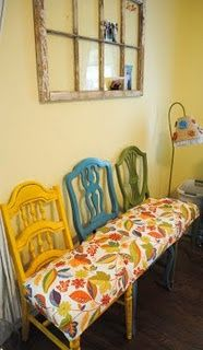 Mismatched thrift store chairs made into bench- So smart!!!