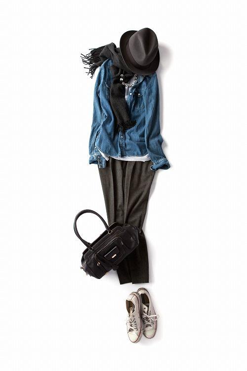 コーディネート詳細(ダンガリーシャツを上品に、グレーの色をラフに、秋のブルーグレーの着こなしです。)| Kyoko Kikuchi's Closet|菊池京子のクローゼット