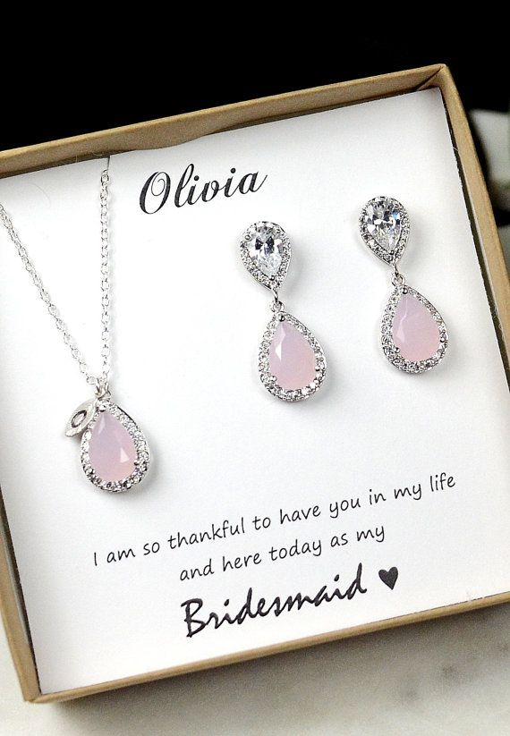 Blush,Bridesmaid Gift,Bridesmaid Jewelry Set,Bridesmaid Earrings,Necklace and Bracelet Set,Personalized Bridesmaid Gift, Wedding Jewelry Set