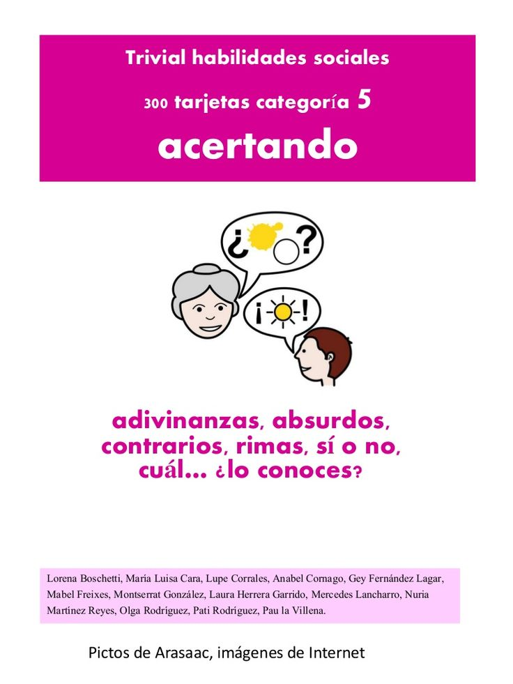 Trivial habilidades sociales 5 acertando 300 tarjetas categoría adivinanzas, absurdos, contrarios, rimas, sí o no, cuál… ¿lo conoces? Lorena Boschetti, María L…