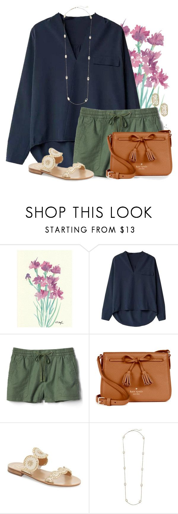 """""""Comfy and Cozy"""" by auburnlady ❤ liked on Polyvore featuring Gap, Kate Spade, Jack Rogers and Kendra Scott"""