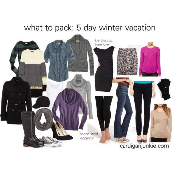 my packing idol! cardigan junkie's 5 day winter vacation packing list.  she has a ton of pack lists for lots of different kinds of trips.