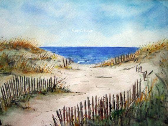 Plage rive, impression de peinture aquarelle originale, art beach, aquarelle art, impression aquarelle, peinture plage, plage aquarelle, dunes de sable