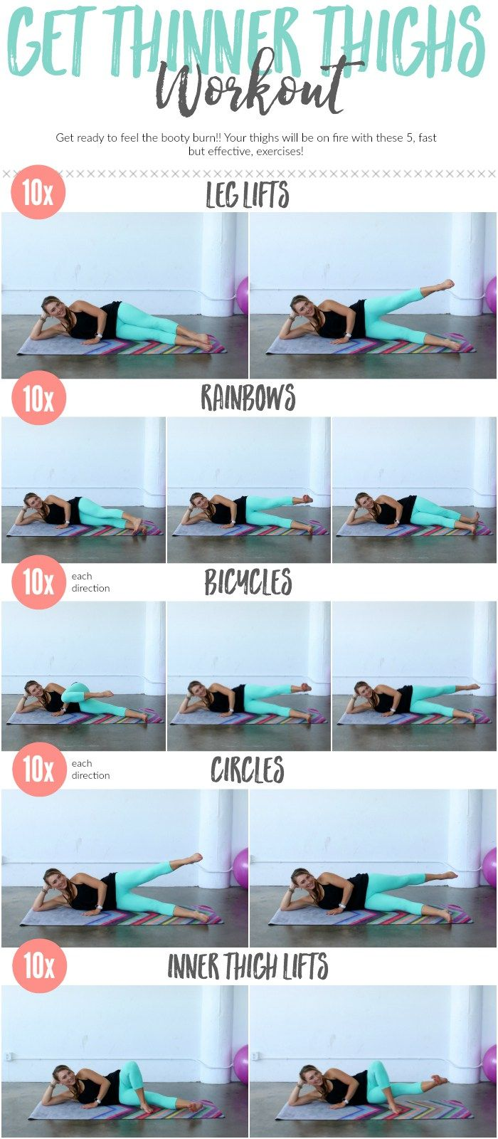 The BEST exercises to target and tone every women's trouble spot -- the Inner & Outer Thighs! You will LOVE this workout.