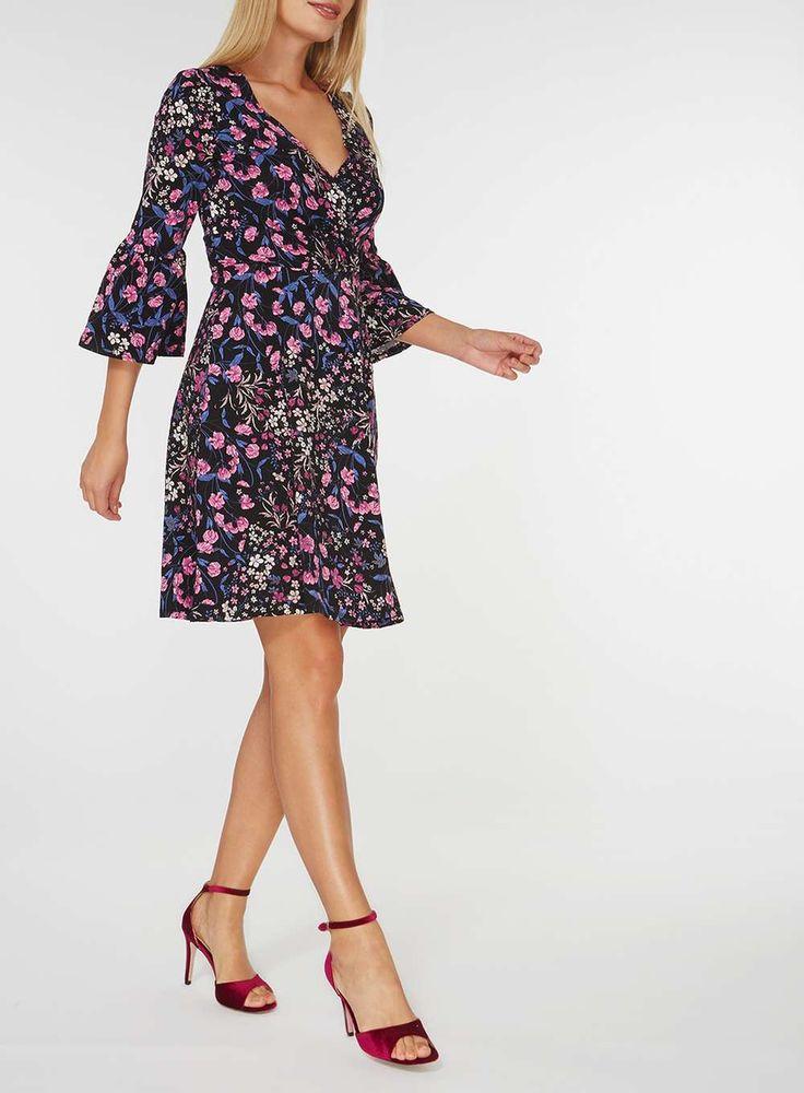 Womens Multi Coloured Floral Wrap Front Dress- Multi Colour