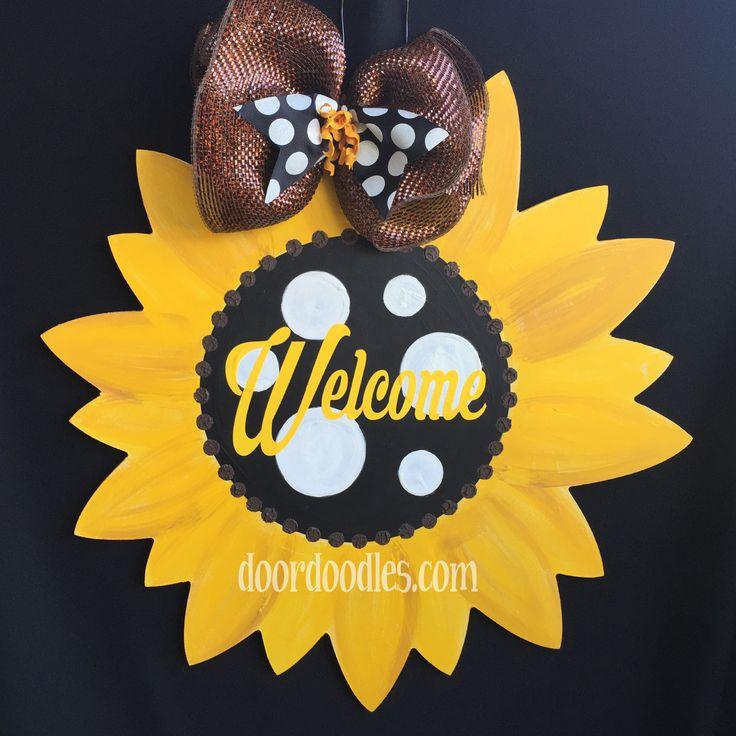 welcome sunflower door hanger  wood wooden personalized polka dot ribbon welcome http://www.doordoodles.com/store/p152/Sunflower.html