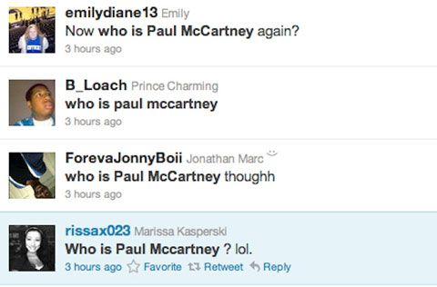 Twitter posts from when Paul McCartney played the Grammys.