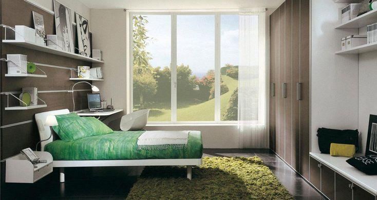 Dormitorio juvenil en tonos marrones y verdes decora el for Decoracion hogar juvenil